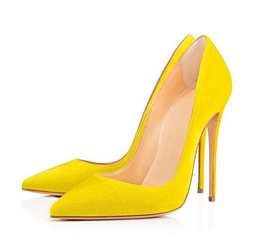 EDEFS Escarpins Femme - Sexy Talon Aiguille - 120mm High Heel Chaussures - Grande Taille Daim Jaune