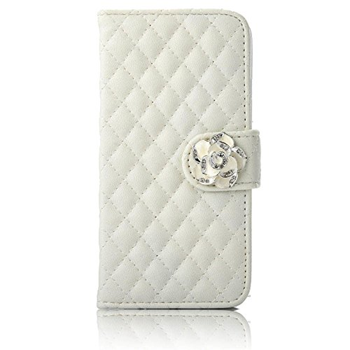 Vandot iPhone 7 Plus Housse en Cuir de Bling Folio Diamant Cristal Strass Bow-knot Case pour iPhone 8 Plus 5.5 Pouces Cover avec Magnetic Flip Card Holder Strass Coque Etui pour iPhone 7 Plus / 8 Plus matelassé-blanc