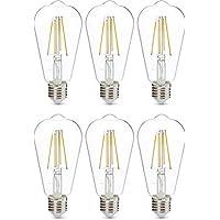 AmazonBasics Professional LED-Leuchtmittel, Edison-Schraubgewinde (E27), ST64, entspricht 60-Watt-Birne, Klarglas, Glühfaden-Design, dimmbar, 6 Stück
