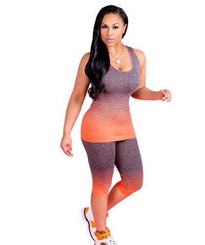 Jitong Outdoor 2 Pcs Set für Damen Bustier Shirt + Capri Jegging Hose, Gemütlich Outfit Sets für Sport (Orange, Asien S) (Outfit Capri Set Sommer)