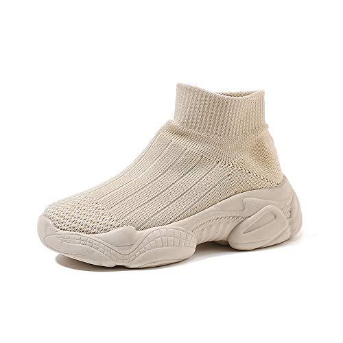 Aegilmc Bambini Sneakers Scarpe da Ginnastica Sock Runners, Walking Scarpe Traspirante Ragazze Ragazzi,Beige,4US