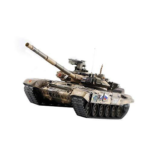 Dilwe RC Tank Modell, verbesserte 1/16 Kunststoff Russische T90 Hauptkampf RC Tank Modell BB Schießen Rauch Sound Beleuchtung Kettenräder (Bb-tank Rc)
