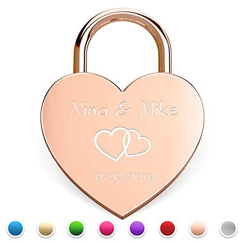 Herz Liebesschloss mit gratis Gravur und Schlüssel Hochzeit (Rosegold)