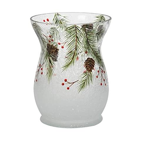 1521452 Pinecone Crackle JH Jar Holder, Glass, Green, Red, Brown, 12 x 12 x 20 cm
