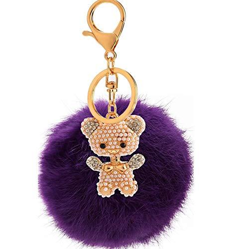 Bellecita decorazioni portachiavi di moda strass lega perla orso peluche palla portachiavi ciondolo in peluche portachiavi portachiavi (viola)