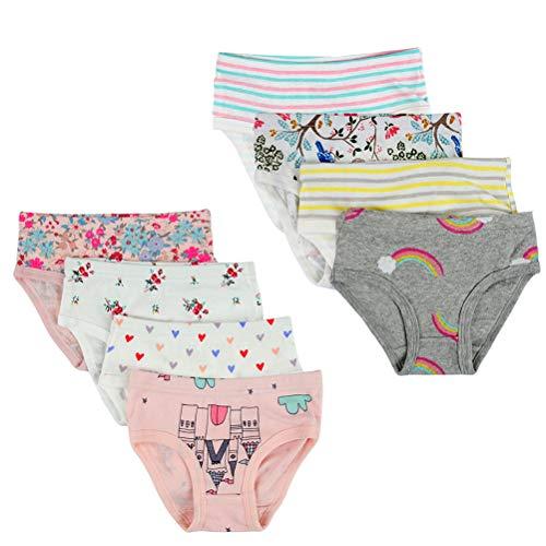 Kidear Bequeme Baumwollene Gemischte Kinder-Unterhosen für Kleine Mädschen. (Eine Packung von 8 Stücke) (Stil1, 2-3 Jahre)