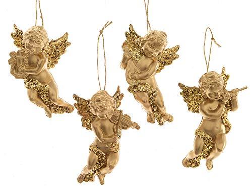 zeitzone Christbaumschmuck Engelchen mit Instrument 4er-Set Gold Weihnachtsdeko (Musikalischer Christbaumschmuck)