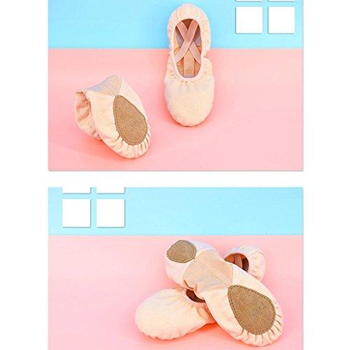 Gato Byjia Dança Sapatos De Couro De Damasco Tiro Adulto Tamanhos Cheia Macio E Yoga Balé Prática Solo Criança Lona Sapatos Único Elástica PIIrZq