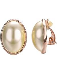 49b722f5411 Yoursfs Boucles d oreilles Clips Or jaune plaqué Solitaire en Perle blanche  simple pour Femme