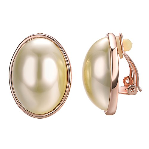 Yoursfs große ohrclips mit perle 18K Vergoldete Runde ohrringen clip ohne durchbohrt Clip auf Ohrringe (Ellipse Gold)