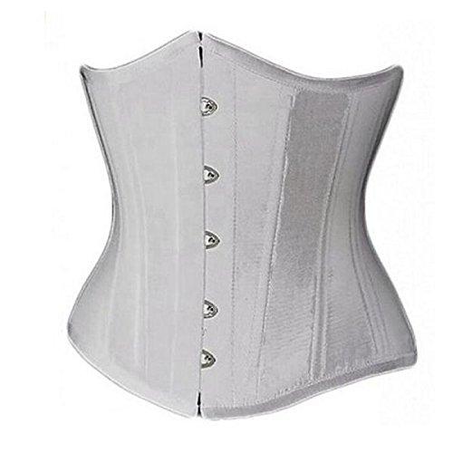 Amlaiworld Lady Shapewear,Vintage Underbust più bustier della biancheria Shaper corpo con G-String (Bianco, M)