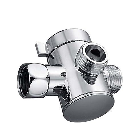 Universel 3voies Bras de douche Inverseur 1/5,1cm 3voies T-Adapter WC Bidet de bain Douchette et Augmentant la tête de douche support de bras de suspension Inverseur–Chrome poli