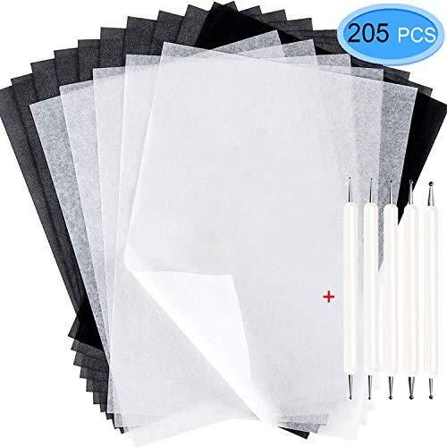 EAONE Transparentpapier aus Kohlepapier (21 x 29,5 cm) mit 5 Präge-Stylus-Eingabestiften für Holzbearbeitung, Holzverbrennung, Transfer/Holzschnitzen und Zeichnen, 200 Blatt