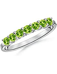 Half Eternity Seven Stone Peridot Wedding Band