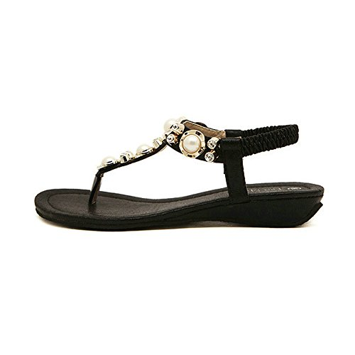 APTRO Femme Chaussures Tongs Sandales Plates Basse de Plage de Voyage avec Perle et Strass Noir