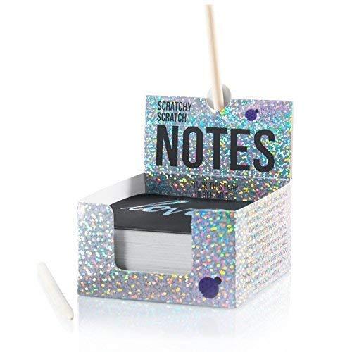 Purple Ladybug Novelty Block-Notes Scratch Art per Bambini e Adulti Cubo di 150 Fogli in Carta Magica Nera | per Appunti, Disegni, Giochi e Regali | Pennelli Inclusi | Blocco con Scritta Argento