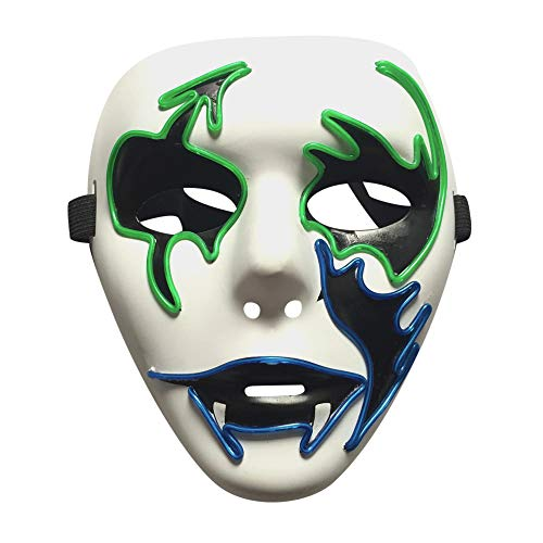 Mitlfuny Halloween coustems Kürbis Hexe Cosplay Gast Ghost Schicke Party Halloween deko,Scary Mask Cosplay LED Kostüm EL Wire leuchten für Halloween Festival Party