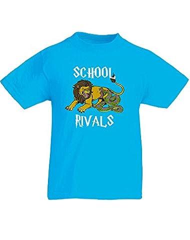 School Rivals, Enfant T-shirt imprimé - Azur/Blanc/Transfert 12-13 Ans