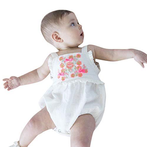 MRURIC❀ Babystrampler Neugeborene Baby Mädchen Farbe Feste Floral Strampler Bodysuit,Mädchen Kleidung mit Kapuze Overall Sommer Outfits Tops T-Shirt Shorts Set Party Einteiler Spielanzug