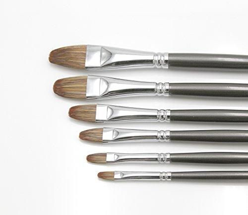 """Paintersisters-Neuss Künstler Pinselset 5"""" für Öl & Acryl, 6 Hochwertige Pinsel aus Wiesel/Naturhaar Größen 2-18, Premium Set 5 Katzenzungen Rotmarder"""