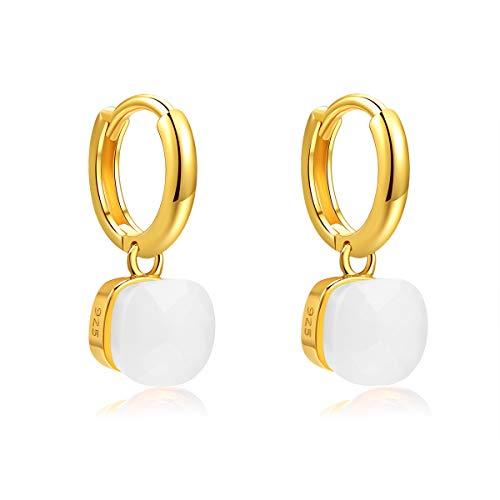 Metjakt, classici orecchini pendenti in argento sterling 925 massiccio, orecchini per donne, gioielli raffinati (White, Argento Sterling placcato oro giallo)