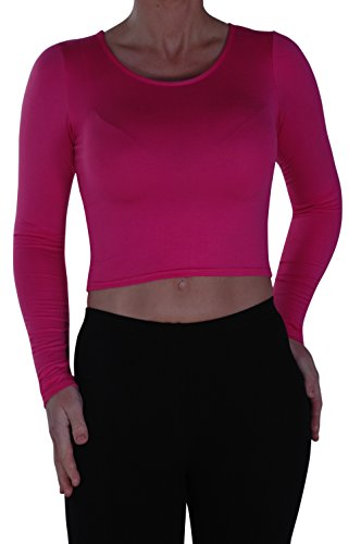 EyeCatch- Dames Désinvolte Court Manche Longue Haut Aux Femmes Mode étendue Col Rond T-Shirt Fuschia