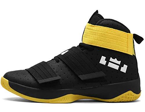 GNEDIAE Herren GNE2089 High-Top Basketball Schuhe Outdoor Anti-Rutsch Sneaker Atmungsaktiv Ausbildung Turnschuhe Sportschuhe Laufeschuhe Verschleißfeste Dämpfung Basketballstiefel Schwarz 45 EU (Basketball-schuhe-tasche)