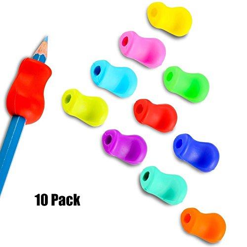 IHRKleid Silikon Stift Griffe Griffhalter Bleistift Grips Stiftehalter 10er Pack Ergonomische Schreibhilfe für Rechtshänder und Linkshänder zufällige Farben Ergonomischer Griff