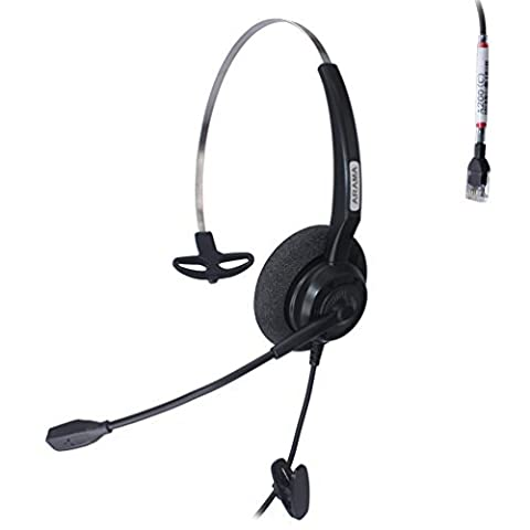 Arama Wired RJ Headset Monaural with Noise Canceling Microphone for Call Center Cisco 7941 7975 Office IP Phones or Telephone Systems with Plantronics M10 M12 M22 MX10