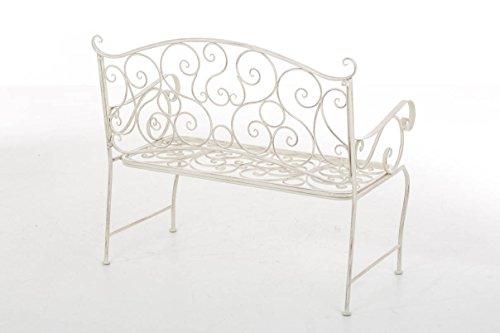 CLP Metall Gartenbank TUAN, 2-er Sitz-Bank Garten, Eisen lackiert, Design nostalgisch antik, 105 x 50 cm Antik Creme - 3