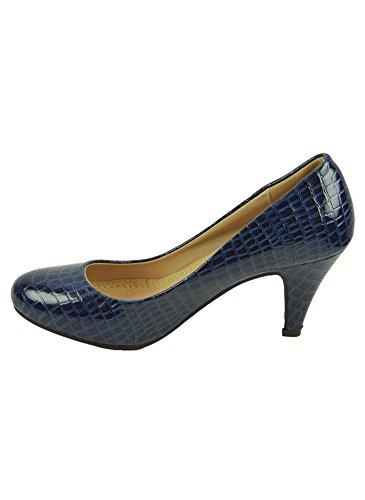 Escarpins Verni Croco Bleu Bleu