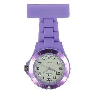 Prince London, New York, gummierter Kunststoff Schwesternuhr Uhr mit Stift-Licht lila mit weißen Ziffernblatt
