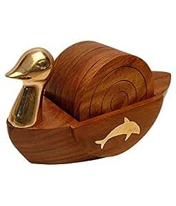 IndiaBigShop Handmade Natural Holzachterbahn 6 Stück Holz Untersetzer mit Ente Form Tisch Coaster Jede misst etwa 3 Zoll im Durchmesser