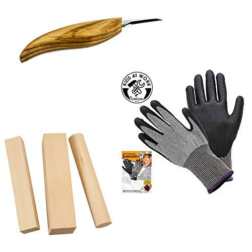 Zite Tools Schnitzmesser + Corvus Schnitz-Holz Linde + Kinder Schnittschutz-Handschuhe Gr. 6 - Schnitz-Set