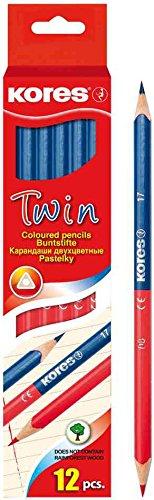 Kores Haftnotizen, 3Packungen 12Buntstifte Twin, blau/rot, dreieckig