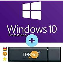 MS Windows 10 Pro 32 bit & 64 bit - Original Lizenzschlüssel mit bootfähigen USB Stick von - TPFNet®