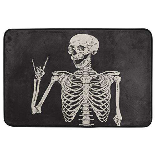 (Halloween-Fußmatte, Hausdekoration, rutschfest, waschbar, Rock and Roll, Skelett-Totenkopf, Boho, Hippie, für den Innen- und Außenbereich, Badezimmer-Fußmatte, Halloween-Party-Dekoration, 60 x 40 cm)