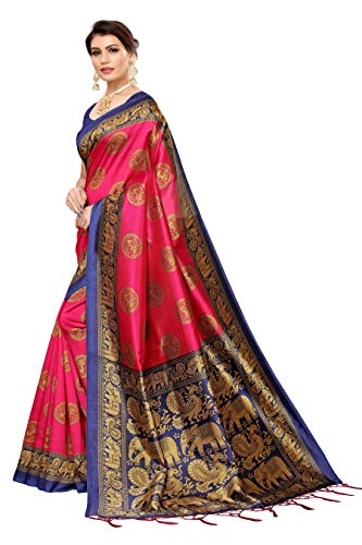 Winza Designer Jamawar Art Silk with Blouse Piece Saree (CHOTA HAATHI_Pink_Free)