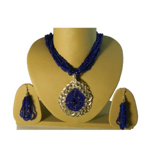 Schmuck-Set Indira blau königsblaue Glasperlchen silberfarbige Fassung Rajasthan Schmuck (Schmuck Indien Kostüm Sets)