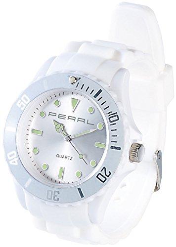 PEARL nc-7326–675nc7326–944–Armbanduhr, Armband Silikon Farbe weiß
