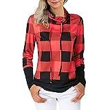 Kltipeng Frauen Nähen Farbe hohen Kragen T-Shirt Plaid Lange Ärmel Bluse Tops(EU-36/CN-M,Rot)