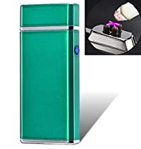 Electronic USB Plasma Lighter - Double Top Arc (X) Rechargeable Cigarette Lighter - Tesla Coil - (Green) - With Gift Box & Free Shipping