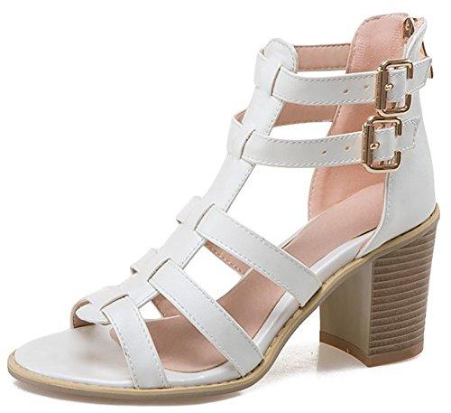 Odema estate delle donne della caviglia-cinghia sandali gladiatore bianca