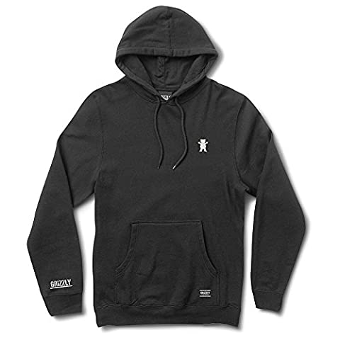 Grizzly Griptape Men's OG Bear Embroidered Pullover Hoodie Black 2XL