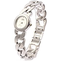 Sheli White Petite Face Silver Tone Stainless Steel Quartz Bracelet Watch for Woman,25mm