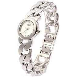 Sheli White Petite Face Silver Tone Stainless Steel Quartz Bracelet Watch for Woman,25mm