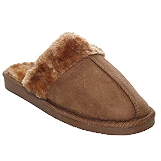 A&H Footwear. Womens Ladies Slip On Warm Faux Fur Lined Girls Winter Cosy Mules Slippers UK Sizes 3-8 (UK 4, Tan)