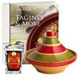 Traditional Tagine, Recipe Book and Seasoning Kit Starter Gift Pack