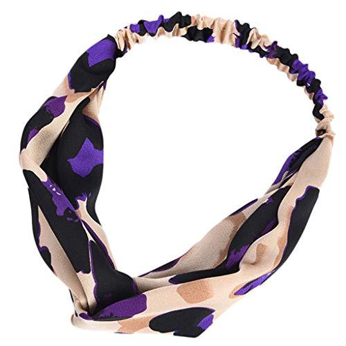 KonJin Stirnband Damen elastische Haarband Kopfband Weich Turban Stirnband für Alltag Yoga Sport Fitness Leopard Print einfache Mode Stirnband