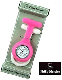 (Philip Mercier) reloj de bolsillo de cuarzo enfermeras rosa/blanco